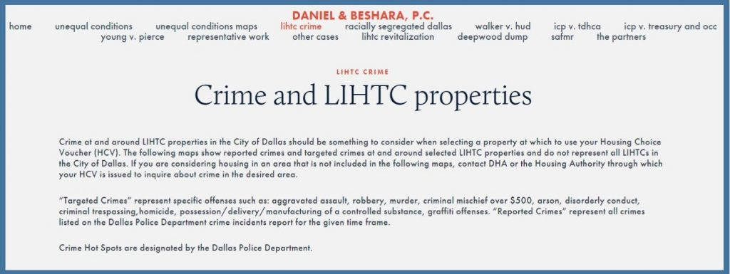 DBPC webesite pic with crime and LIHTC maps and data
